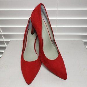 1. State Red Suede Pointed Closed Toe Slip-On Heel